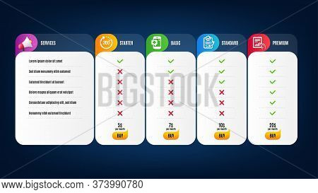 Medical Phone, Document And 360 Degrees Icons Simple Set. Price List, Pricing Table. Rfp Sign. Mobil