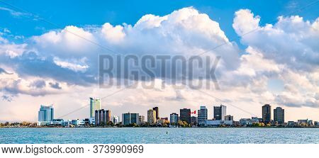 Panorama Of Windsor, Canada From Detroit, Usa Across The Detroit River