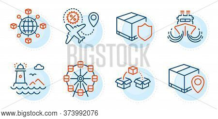 Ship, Parcel Tracking And Lighthouse Signs. Delivery Insurance, Flight Sale And Logistics Network Li