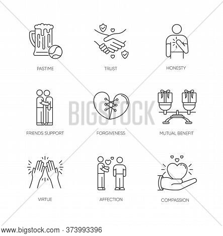 Friends Relationship Pixel Perfect Linear Icons Set. Social Connection, Strong Interpersonal Bond Cu
