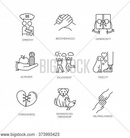 Friendship And Support Pixel Perfect Linear Icons Set. Interpersonal Relationship, Interspecies Bond