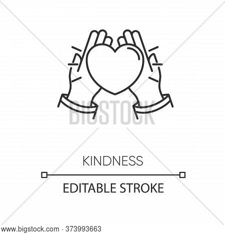 Kindness Pixel Perfect Linear Icon. Thin Line Customizable Illustration. Love And Support, Friendshi