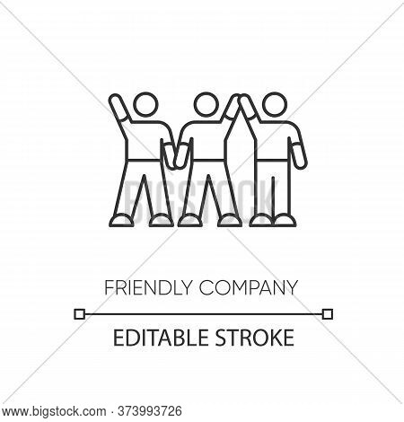 Friendly Company Pixel Perfect Linear Icon. Thin Line Customizable Illustration. Friendship, Social