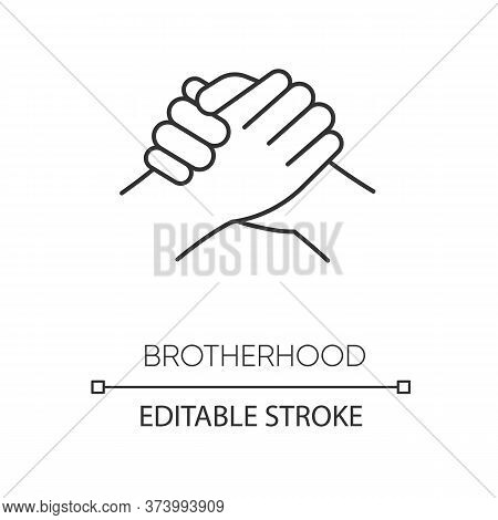 Brotherhood Pixel Perfect Linear Icon. Thin Line Customizable Illustration. Strong Friendship, Inter