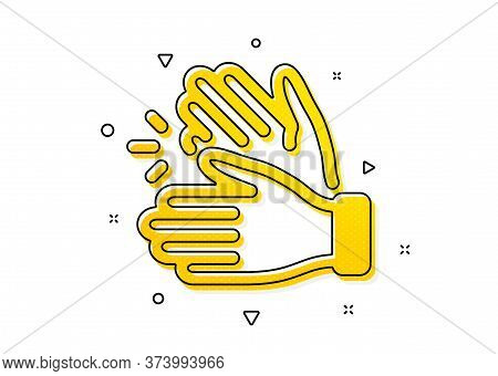 Clap Sign. Clapping Hands Icon. Victory Gesture Symbol. Yellow Circles Pattern. Classic Clapping Han