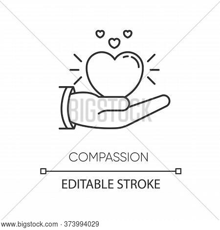 Compassion Pixel Perfect Linear Icon. Thin Line Customizable Illustration. Emotional Support, Friend
