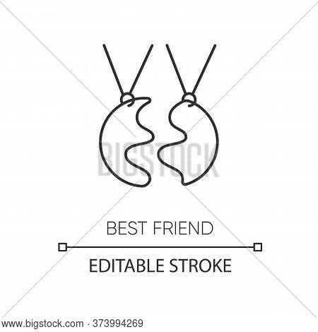 Best Friend Pixel Perfect Linear Icon. Thin Line Customizable Illustration. Strong Interpersonal Bon