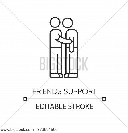 Friends Support Pixel Perfect Linear Icon. Thin Line Customizable Illustration. Friendship, Compassi