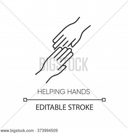 Helping Hand Pixel Perfect Linear Icon. Thin Line Customizable Illustration. Friendly Support, Frien