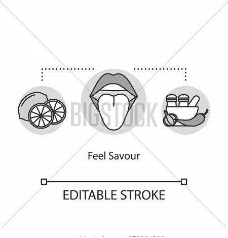 Feel Savor Concept Icon. Mindful Eating, Conscious Nutrition Idea Thin Line Illustration. Enjoying M