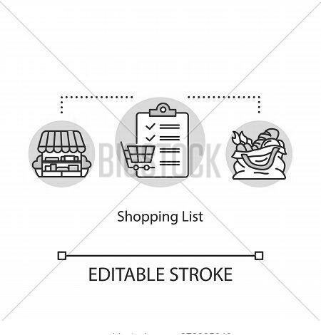 Shopping List Concept Icon. Mindful Eating, Consumerism Idea Thin Line Illustration. Avoiding Impuls