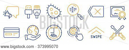 Set Of Technology Icons, Such As Screwdriverl, Swipe Up. Certificate, Save Planet. Megaphone, 48 Hou