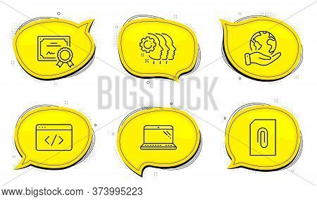 Attachment Sign. Diploma Certificate, Save Planet Chat Bubbles. Employees Teamwork, Laptop And Seo S