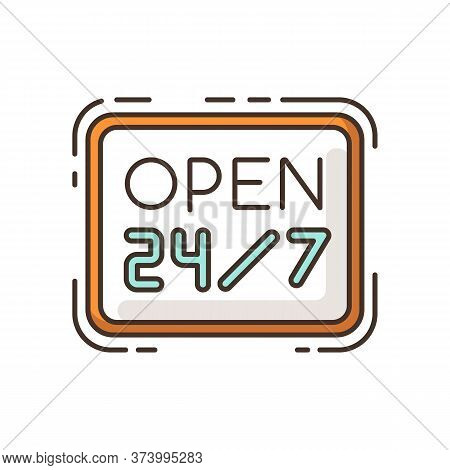 Open 24 7 Hours Rgb Color Icon. Twenty Four Seven Store. Hanging Retail Sign. Signage For 24 Hrs Sho