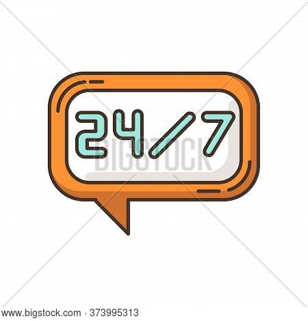 24 7 Hour Online Chat Rgb Color Icon. Twenty Four Seven Hours Call Center. Everyday Helpline. Always