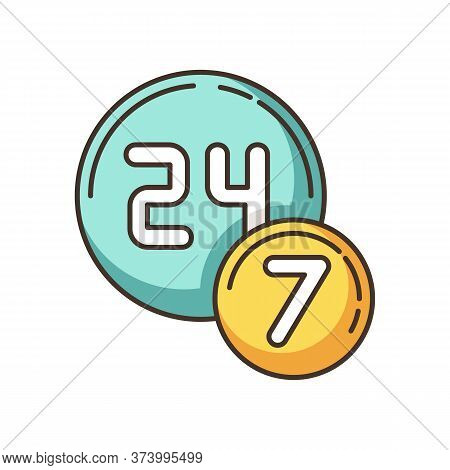 24 7 Circle Badge Rgb Color Icon. Twenty Four Seven Hours Round Sign. Always Available Service. All