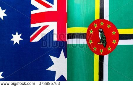 Fragments Of The National Flags Of Australia And The Commonwealth Of Dominica Close Up
