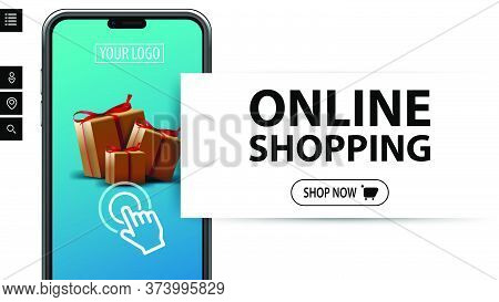 Online Shopping, Modern White Minimalistic Banner For Website With Large Title, Button And Large Vol
