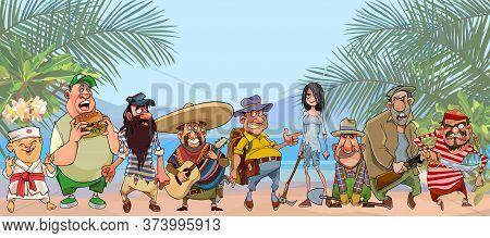 Group Of Diverse Cartoon Characters Stand On Tropical Shore