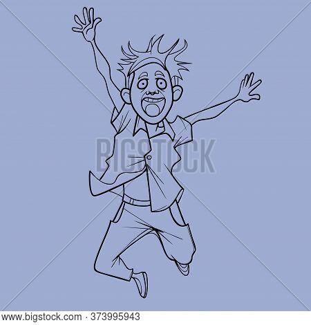Sketch Of Cartoon Man Joyfully Jumping Holding His Hands Up