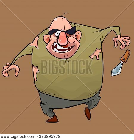 Striking Cartoon Male Villain With Drop Out Knife