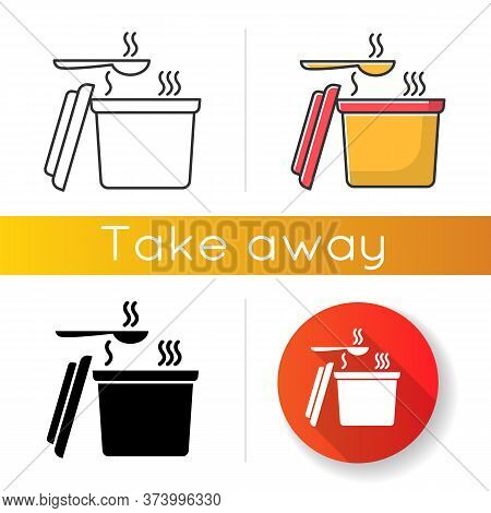 Takeout Hot Food Container Icons Set. Linear, Black And Rgb Color Styles. Takeaway Soup Pack With Sp