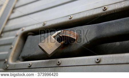 Salvador, Bahia / Brazil - June 29, 2020: Padlock Is Seen At The Door In A Residential Condominium I