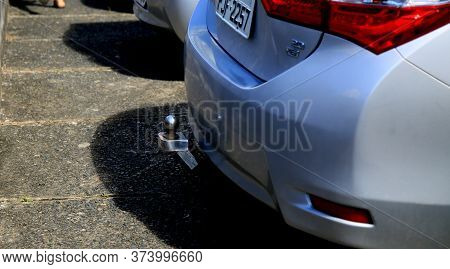 Salvador, Bahia / Brazil - June 28, 2020: Trailer Hitch Is Seen At The Rear Of A Vehicle In The City
