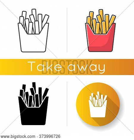 French Fries Icons Set. Linear, Black And Rgb Color Styles. Fried Potato, Salty Sticks In Cardboard