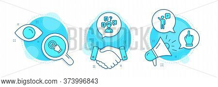 Middle Finger, Agent And Touchscreen Gesture Line Icons Set. Handshake Deal, Research And Promotion