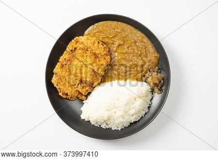 Tonkatsu Curry Rice (japanese Deep-fried Pork Cutlet With Curry Rice). Top View On White Background.