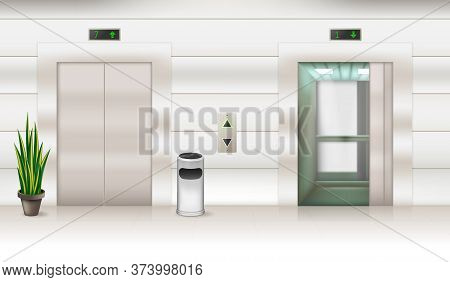 Contemporary Passenger Or Cargo Elevators With Open And Closed Doors 3d Design. Modern Metallic Lift