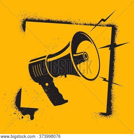 Megaphone In Stencil Style. Megaphone Pictogram - Symbol Of Protest, Attention, Appeal. Motivational