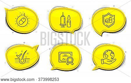 Medical Tablet Sign. Diploma Certificate, Save Planet Chat Bubbles. Anti-dandruff Flakes, Capsule Pi