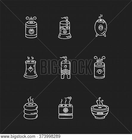 Air Ionizers Variety Chalk White Icons Set On Black Background. Ultrasonic And Steam Air Humidifiers
