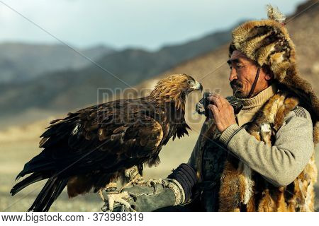 BAYAN-OLGII, MONGOLIA - SEP 28, 2017: Berkutchi (Kazakh Eagle Hunter) while hunting to the hare with a golden eagles on his arms in the mountains of Bayan-Olgii aimag.