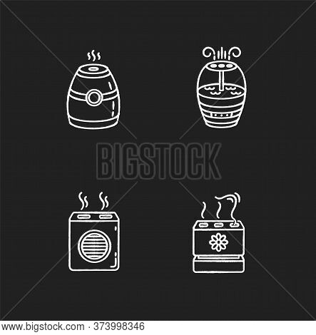 Air Purifiers Variety Chalk White Icons Set On Black Background. Modern Air Humidifiers, Climate Con