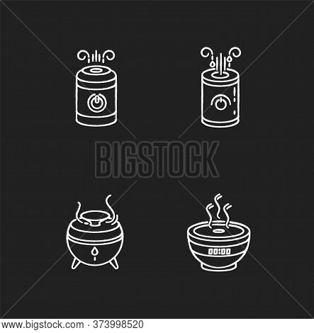 Air Humidifiers Designs Chalk White Icons Set On Black Background. Minimalistic Air Purifiers, Clima