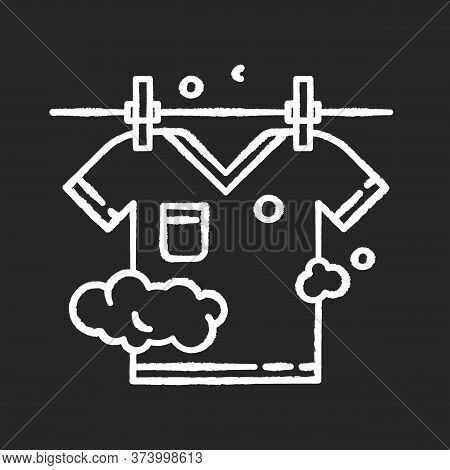 Outdoor Drying Chalk White Icon On Black Background. Laundry, Clothesline, Outside Clothes Drying. T