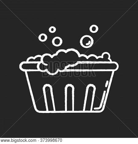 Handwash Chalk White Icon On Black Background. Soaking Laundry, Wash Basin With Foam, Hand Washing.