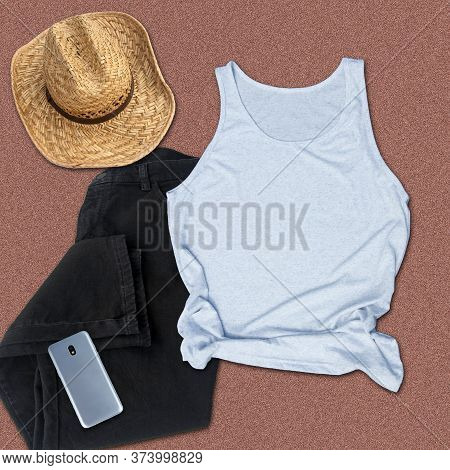 Gray Tank Top Mockup Summer Fashion Still Life With A Cowboy Hat, Black Jeans And A Cell Phone For C