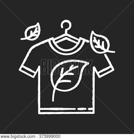 Eco Dry Cleaning Chalk White Icon On Black Background. Clothes Washing, Laundry Service. Organic Det