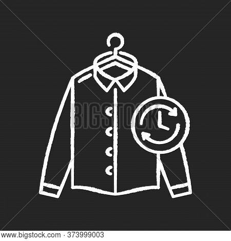 Express Laundry Chalk White Icon On Black Background. Clothes Quick Washing, Dry Cleaning, Delivery