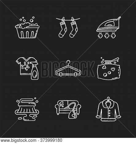 Laundry And Cleanup Service Chalk White Icons Set On Black Background. Handwash, Stain Removal, Outd