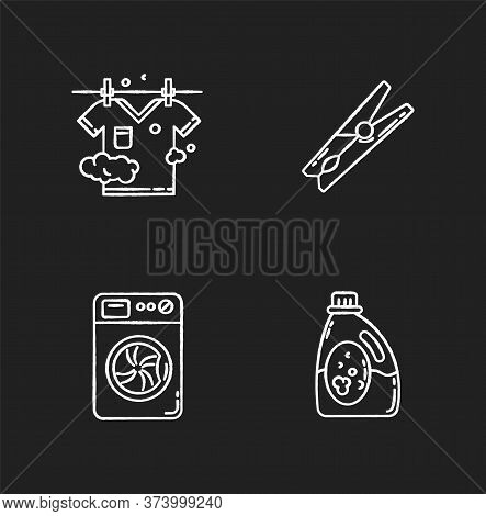 Clothes Cleaning Items Chalk White Icons Set On Black Background. Clothing Washing, Outdoor Drying.