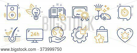 Set Of Technology Icons, Such As Speakers, 24h Service. Certificate, Save Planet. Vacuum Cleaner, Lo