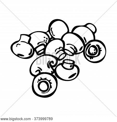 Champignon Icons Set. Champignon Outline. Great For Menu, Poster Or Label. Isolated Champignon On Wh