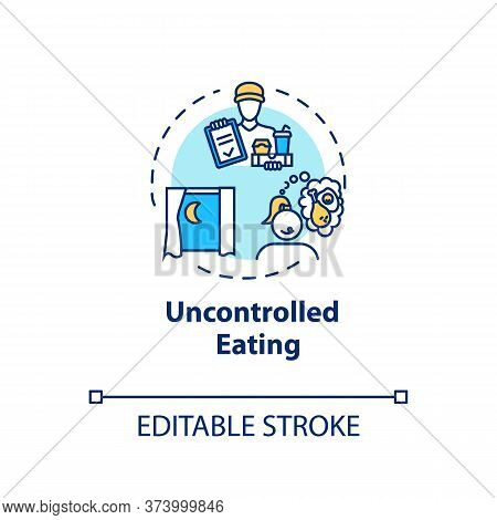 Uncontrolled Eating Concept Icon. Mindless Eating, Excessive Nutrition Idea Thin Line Illustration.