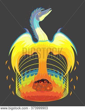 Phoenix Born From A Meteorite Fire. Vector