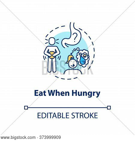 Eat When Hungry Concept Icon. Conscious Nutrition, Mindful Eating Idea Thin Line Illustration. Liste